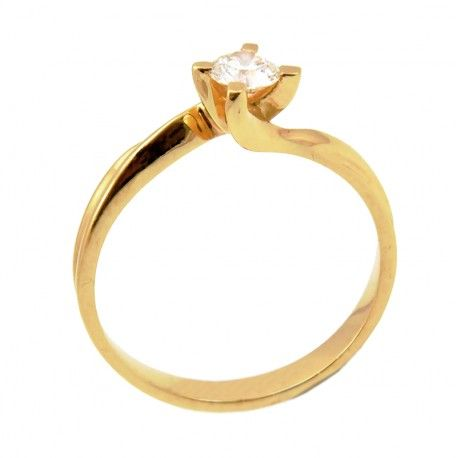 Solitario oro 18 K. Diamante natural de 0,31 quilates