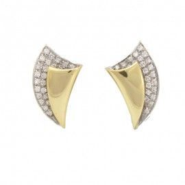Pendientes oro bicolor 18 quilates con 48 diamantes