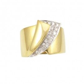 360º Anell or 18 k bicolor amb 16 diamants 0,30 Quilats