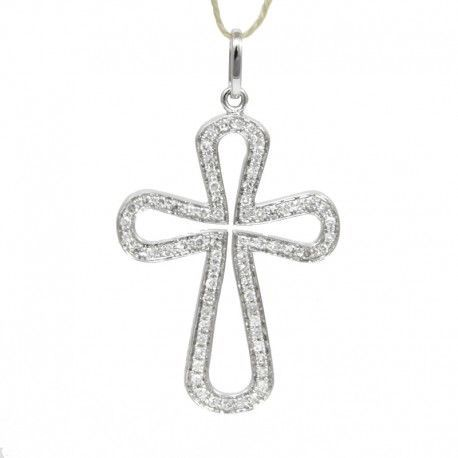 Cruz de oro blanco de 18 quilates con diamantes